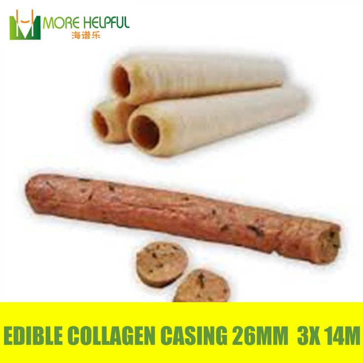Best selling 42 Meters 3pcs/lot Diameter 26mm sausage halal Edible  artificial Collagen casing  free shipping sausage skin cover #Affiliate