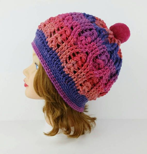 Crochet Winter Hat - PomPom Hat - PomPom Beanie - Women's Hat With PomPom - Ski Hat - Crochet Hat in Pink and Purple - Striped PomPom Hat