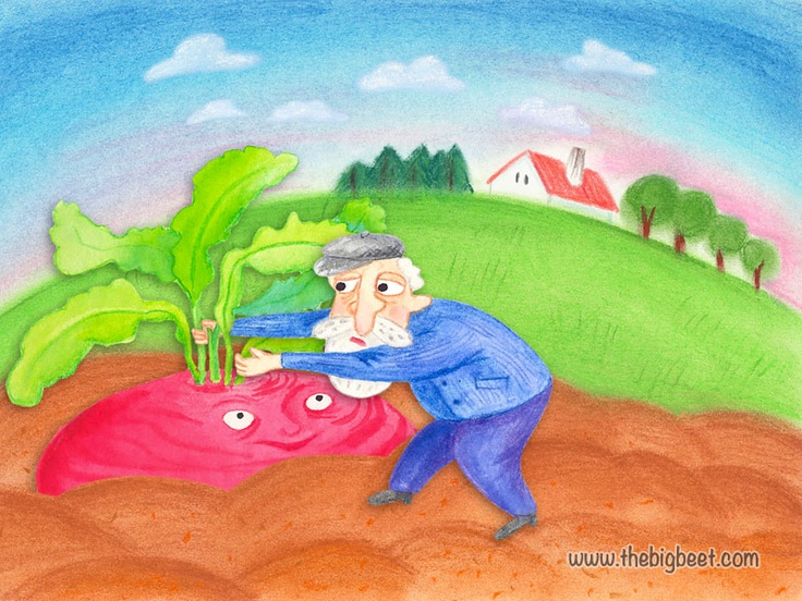 (3/14) He thought of pulling the beet out of the ground, but when he tried, he found he couldn't do it.