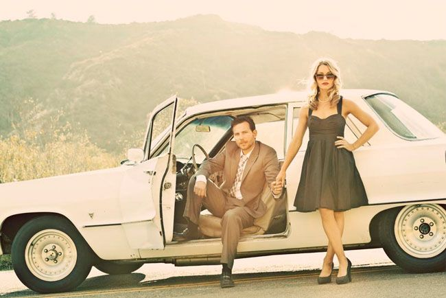 Engagement Session with a car. Photographed by Justin Lee
