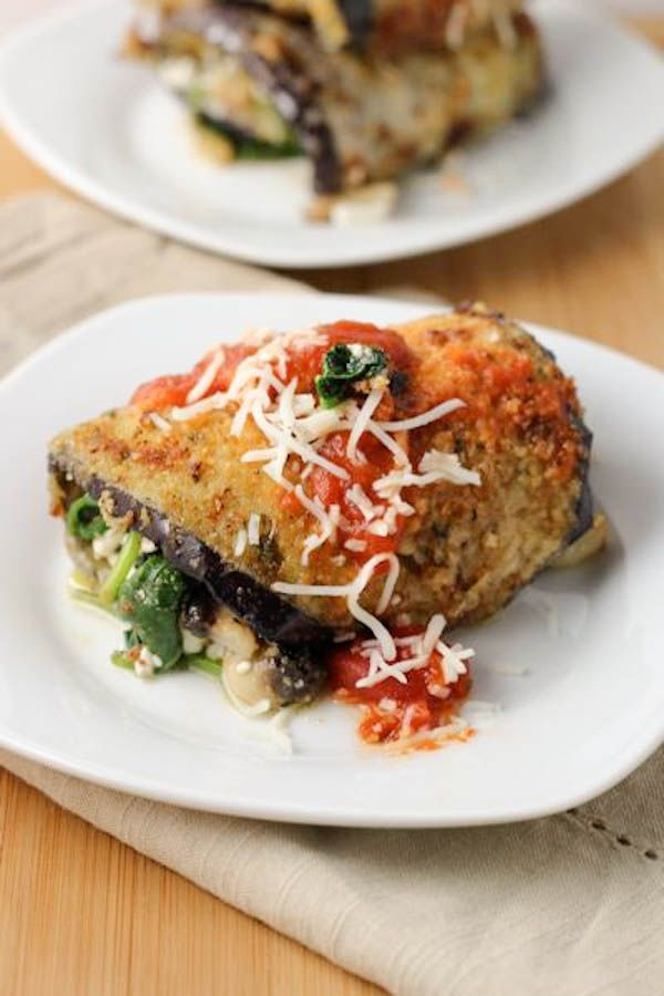 Spinach and cheese stuffed eggplant (kale, onion and mushrooms would be good too!)