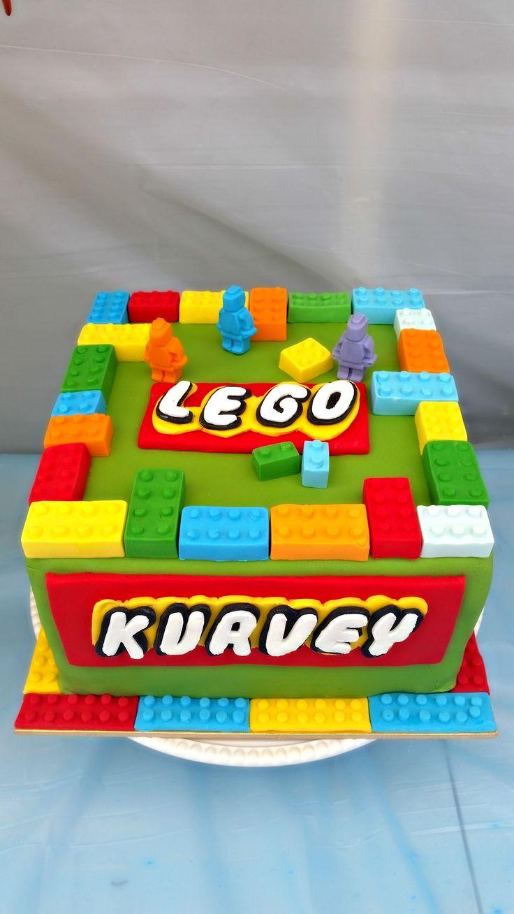 Lego-themed birthday cake