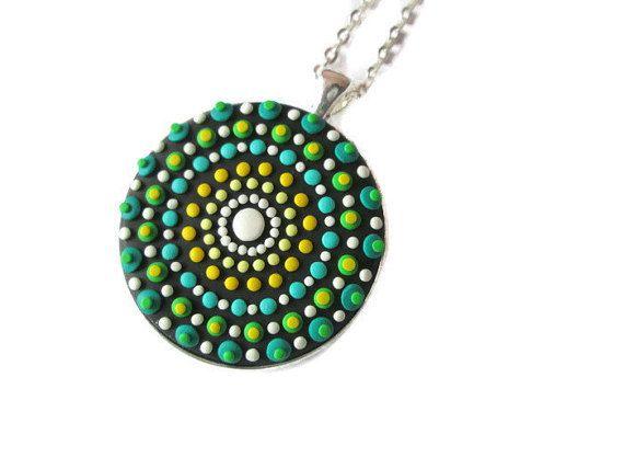 turquoise mandala necklace mandala spiritual gifts buddhist jewelry by FloralFantasyDreams on Etsy