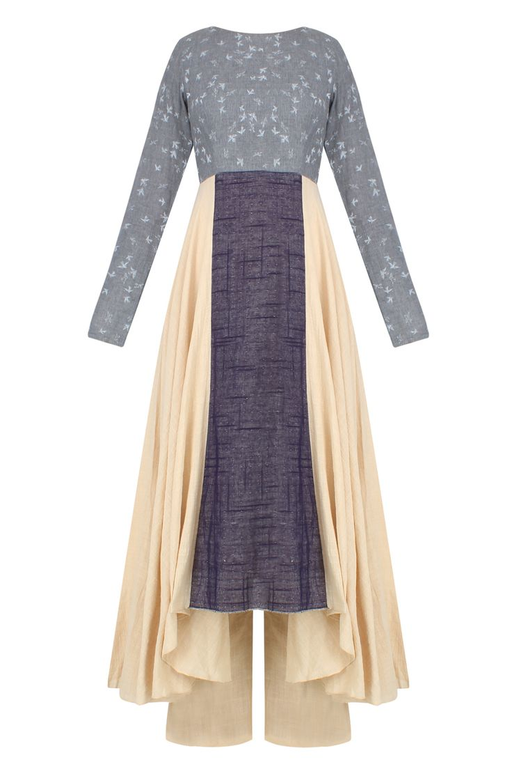 Beige and blue dual toned bird print kurta set with beige pants available only at Pernia's Pop Up Shop.