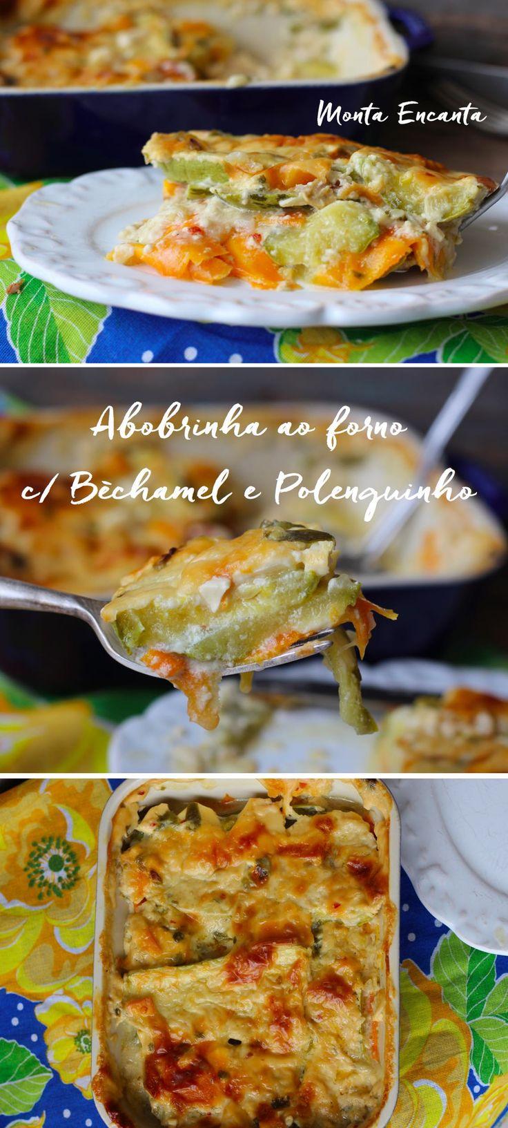 Abobrinha ao forno com Molho Bèchamel e Polenguinho gratinada ao forno com cenoura fatiada bem fininha, surpreende no sabor, na textura.