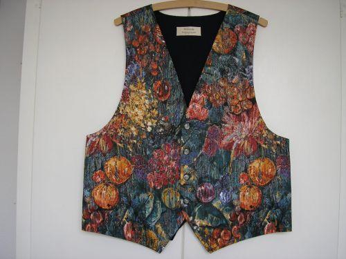 """Waistcoat, Claret/Blue Chagall  40"""" -42"""" from Jacaranda"""