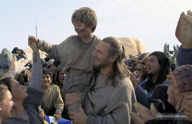 Star Wars: Episode I - The Phantom Menace publicity still of Liam Neeson, Jake Lloyd & Pernilla August
