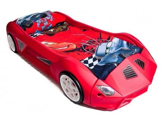... PLASTIC RACING CAR BED & MATTRESS - CHILDRENS JUNIOR TODDLER SIZE