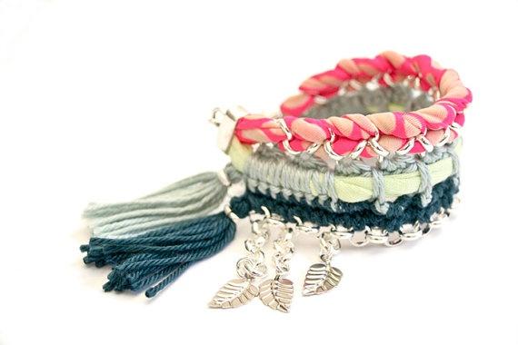 bracelet hippie princess neon pink lime mint petrol von gudbling, €59,00