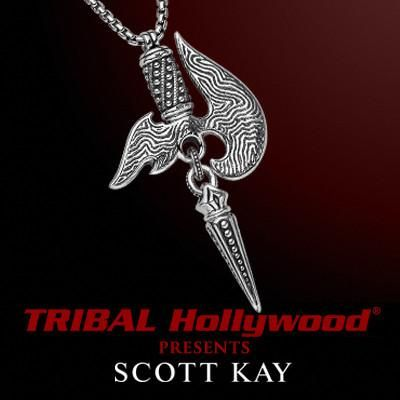 DAMASCUS BLADE Samurai Axe Necklace in Silver by Scott Kay