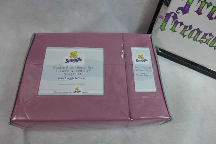 Snuggle Queen Sheet Set 6 Pieces Brushed Microfiber 2 Sheets 4 Cases Mauve New #Snuggle
