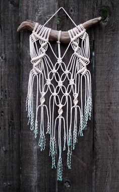 Dip Dyed Teal Macramé Wall Hanging on Drift Wood от FreeCreatures