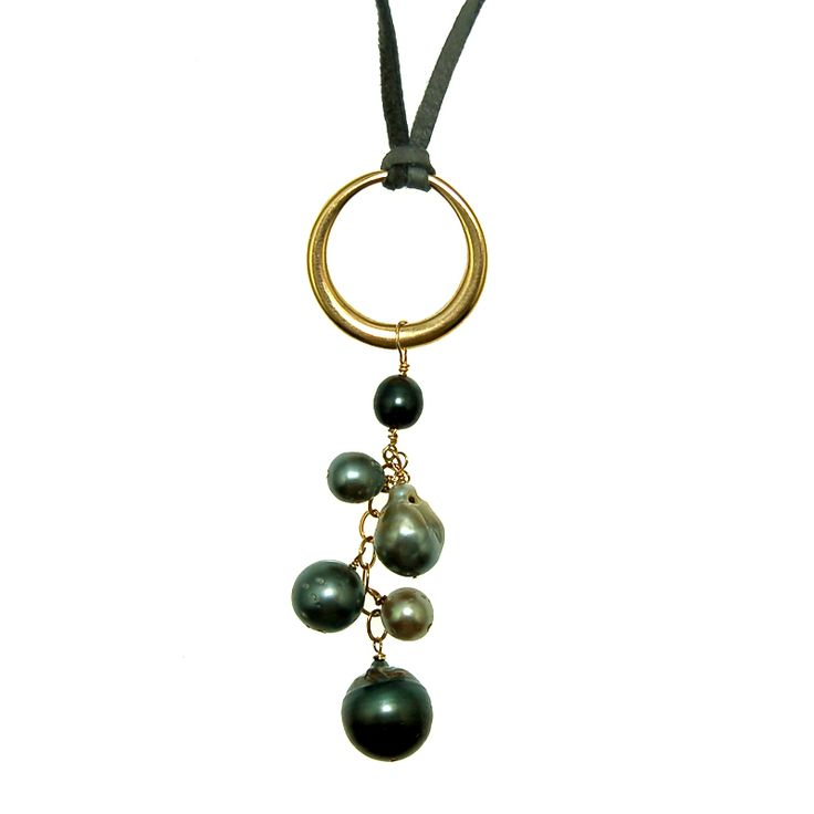 Tahitian Pearls on Bronze Ring Necklace (N1910S) $250