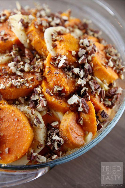 Honey Glazed Apple & Sweet Potato Casserole // Tried and Tasty // Easily Made Vegan with Vegan Butter