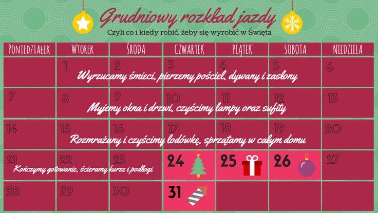 Świąteczne porządki: co i kiedy robić, żeby się wyrobić na czas? Proponujemy nasz harmonogram :) #INFOGRAFIKA #Święta