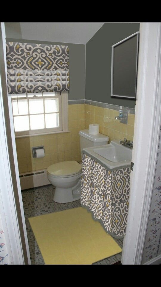 vintage tile bathroom yellow and grey
