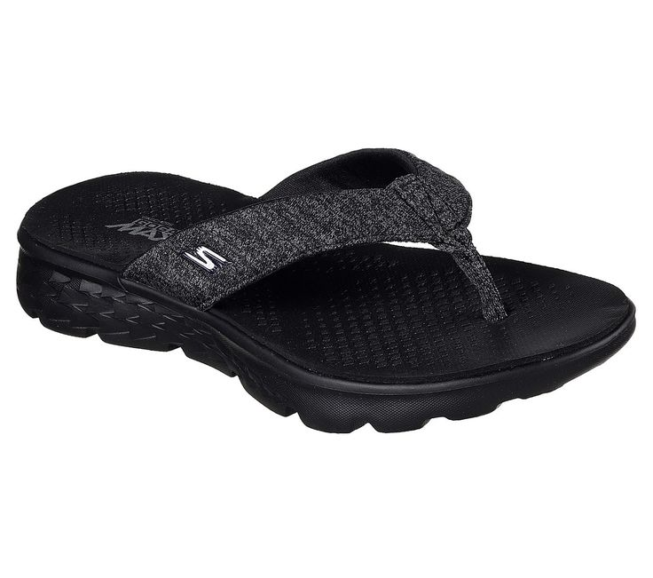 Advanced technology combines with style and comfort in the Skechers On the GO 400 - Vivacity sandal.  Soft jersey mesh fabric upper in a sporty casual comfort flip flop thong sandal with 5GEN™ midsole and Goga Max® insole.