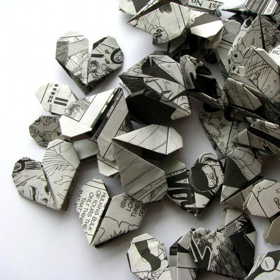 100 Origami Hearts Recycled Manga Comics by ameiiwess on Etsy for Valentines