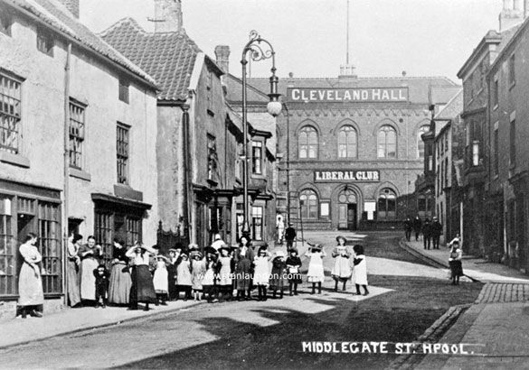 This is certainly an old photograph of Middlegate in Hartlepool. It shows the Cleveland Hall and Liberal Club on Durham Street.