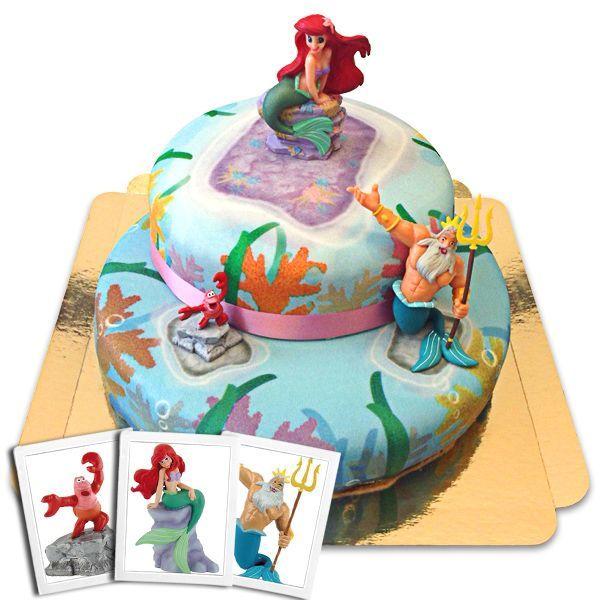 Eine 2-stöckige Korallentorte mit Arielle der Meerjungfrau auf der Spitze. Perfekt zur Geburtstagsparty eines Mädchens.