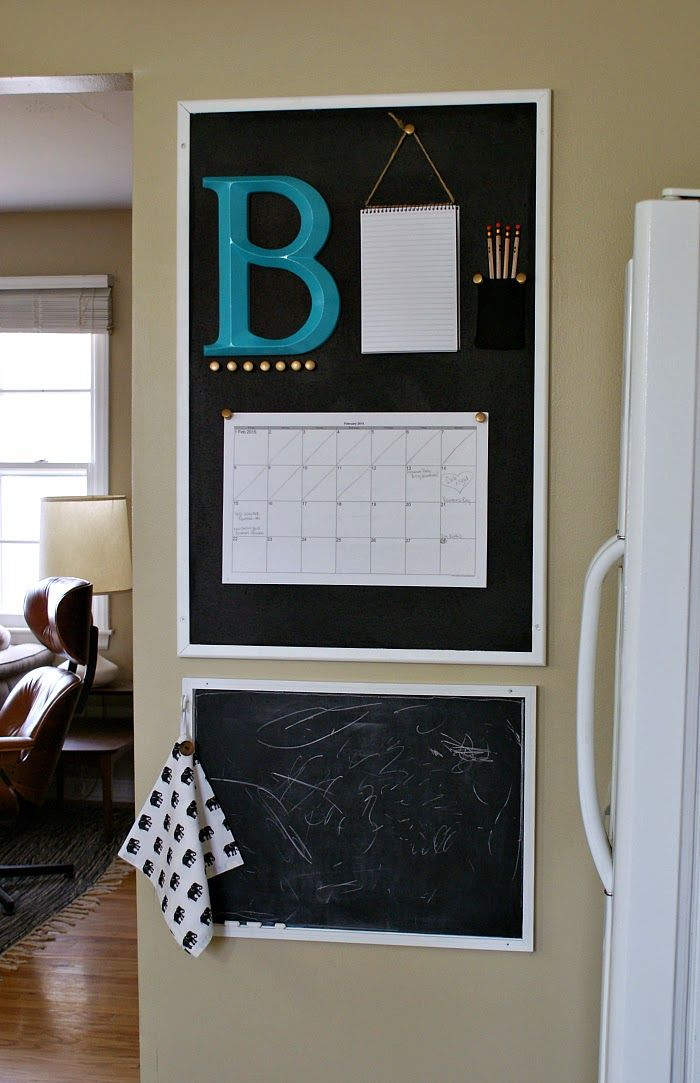 Getting our family organized with a kitchen calendar. #organization #corkboard #commandcenter