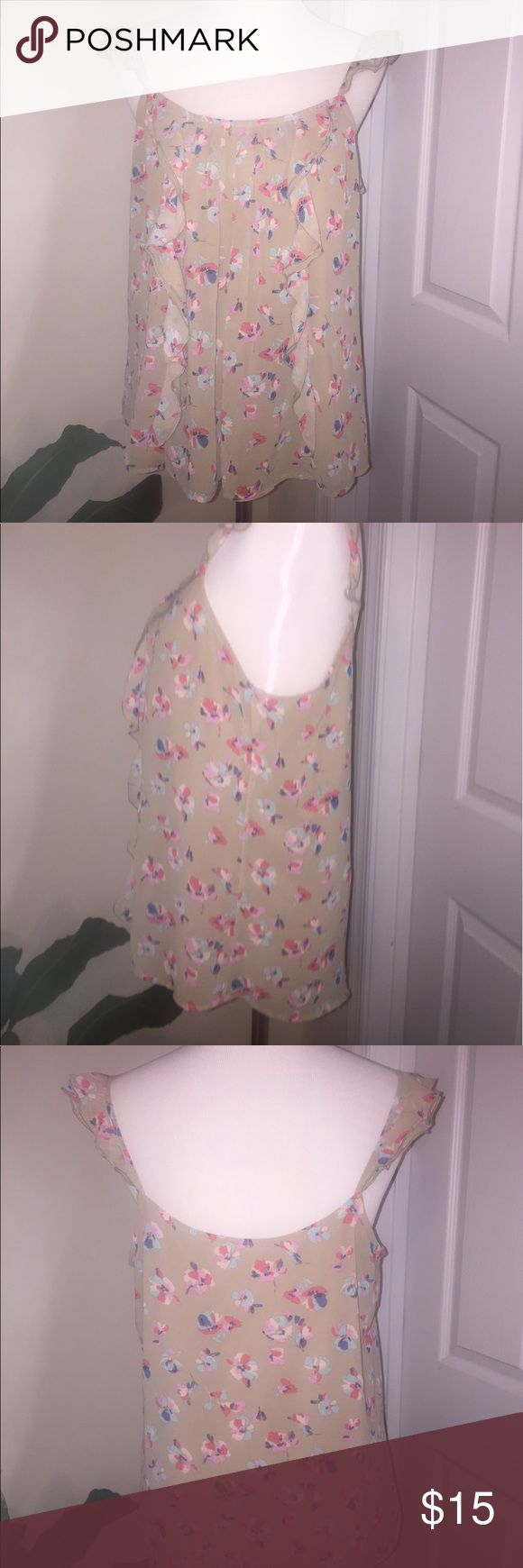 Ruffle Strap Floral Cami Tank No rips or stains. Lined cami. LC Lauren Conrad Tops Camisoles