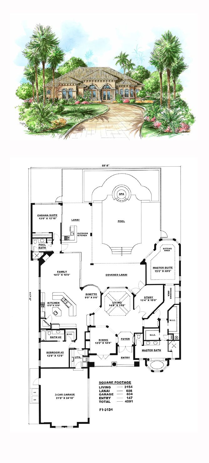 Florida style cool house plan id chp 16706 total living for Www home plans com