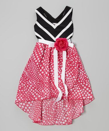 Another great find on #zulily! Fuchsia Black Chevron Flower Dress - Toddler Girls #zulilyfinds