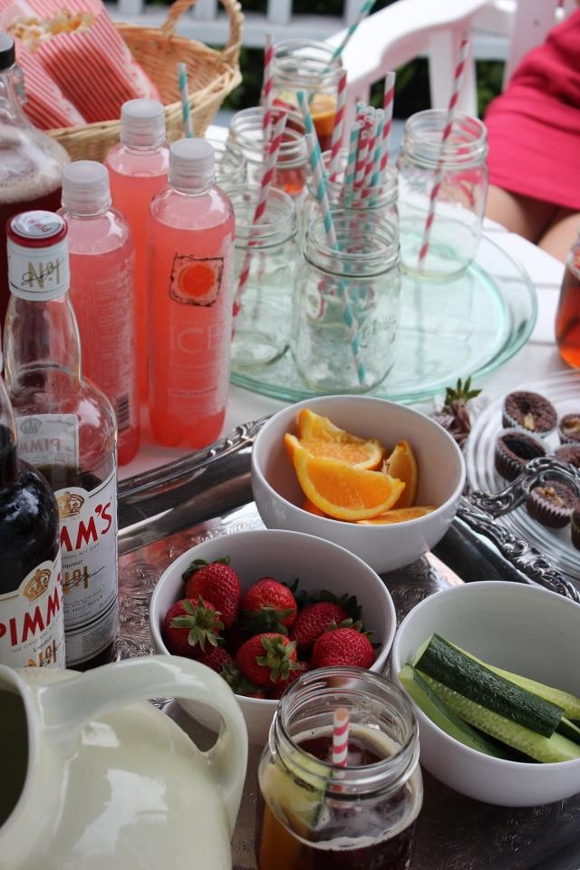 croquet party ideas - Pimm's number one cup, cucumber sandwiches, paper straws