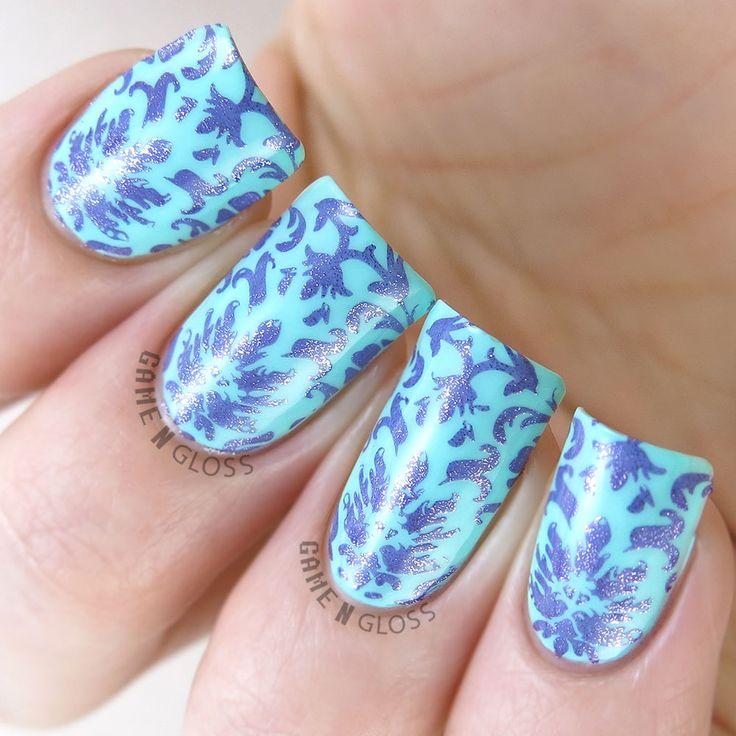 Gorgeous metallic nail art stamping using Delush Polish's Enchanted plate.