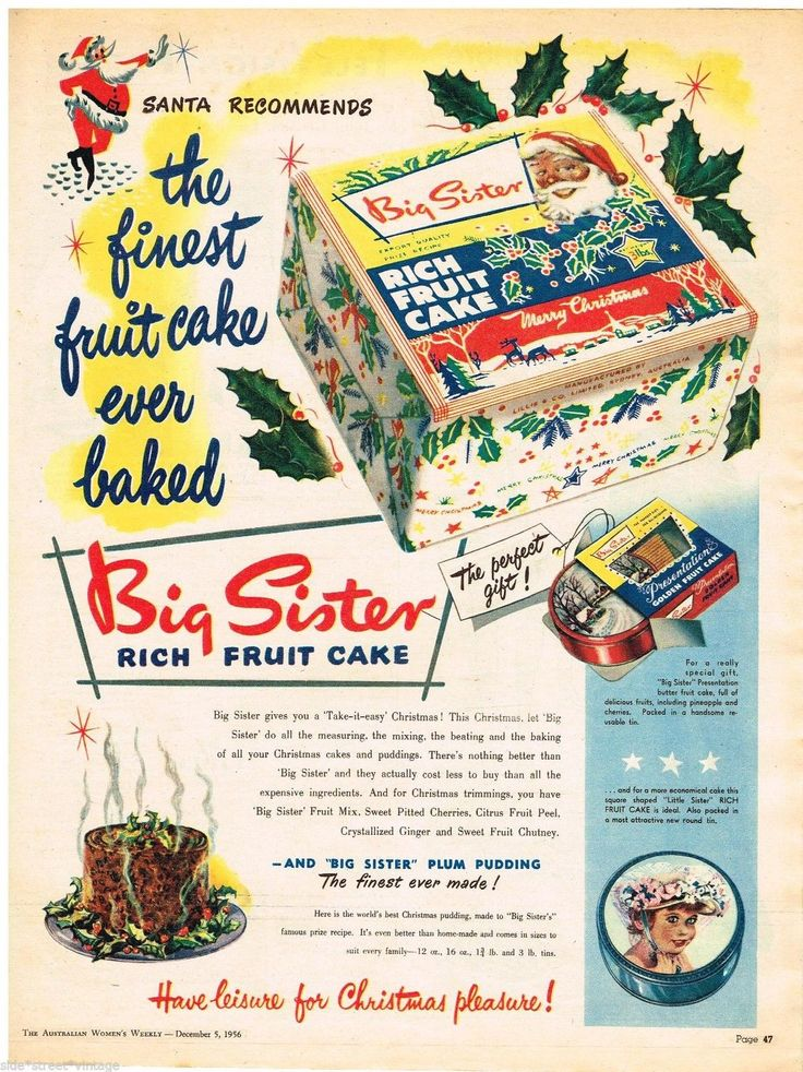 Big Sister Ad Xmas Cakes Tins Art Australian Vintage Advertising 1956 Original   eBay
