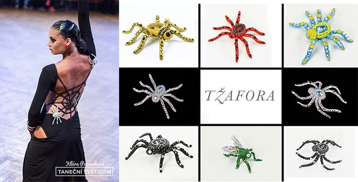 Swarovski spiders, custom order (Tzafora ballroom jewelry)