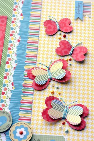 Paper Butterflies - fold paper in half and partially punch with heart punch. Use twine to create body and antennae