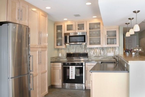 Stylish Kitchen Interesting U Shape Small Kitchen Remodel Design Ideas Using Birch Wood Kitchen Cabinet Including Grey Granite Counter Tops And Grey Glass Tile Kitchen Backsplash Contemporary Images Of Small  Concepts
