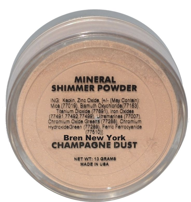 Champagne Dust ~ Mineral Shimmer Powder ~ Paraben Free Unique light reflecting mineral shimmer powder will give you that luminous glow you truly desire. Can be used on face and body and is perfect for all skin tones. Unlike traditional makeup there are no oils, talc, fragrances, synthetic colorants or dyes.