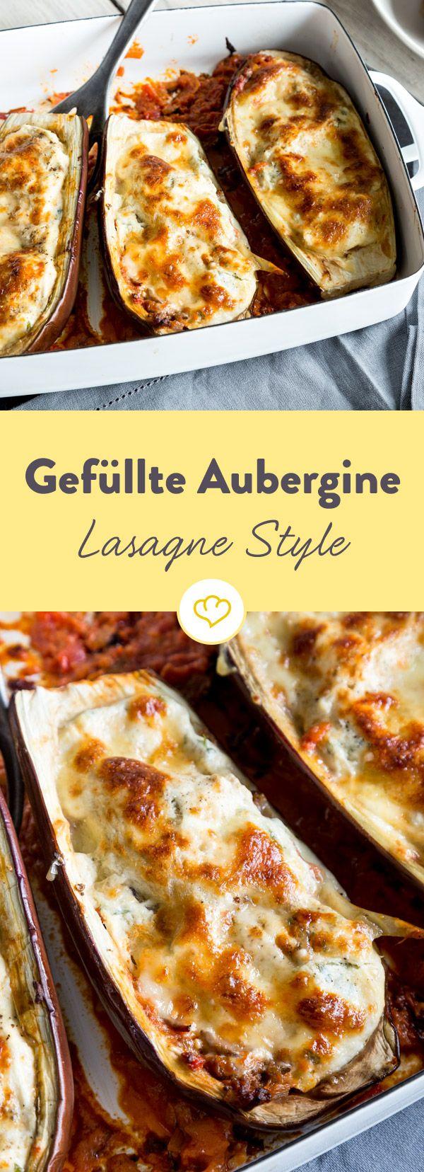 Schichte Lasagne in deine Aubergine und zaubere so Italien-Feeling auf den Teller. Deine Gäste werden es dir danken!