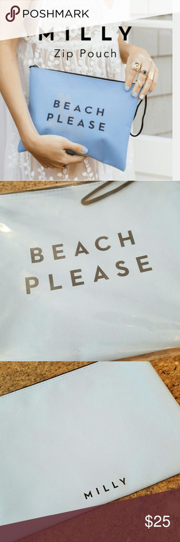 """Milly Beach Please Pouch Exclusively for Fab Fit Fun, durable canvas is water resistant with rubberized, interior. Use it as a wet bikini bag or casual clutch. Measures 10.25"""" ? 8"""" and has a handy wrist strap. Milly Bags Clutches & Wristlets"""