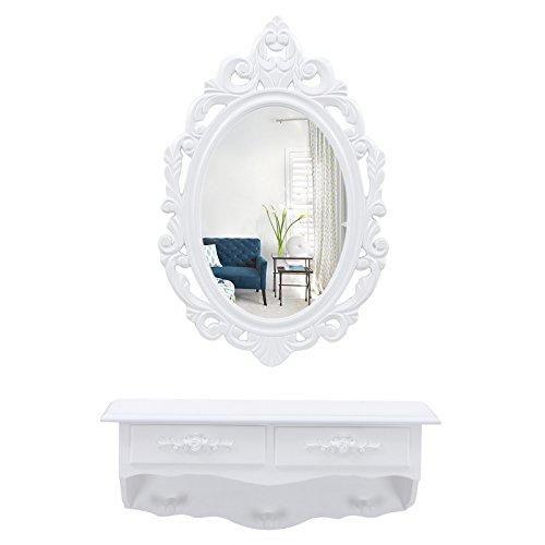 Oferta: 39.99€ Dto: -30%. Comprar Ofertas de Songmics Mini Tocador de pared rústico con 1 espejo ovalado y 2 cajones Mesa de maquillajes Blanco RDT16W barato. ¡Mira las ofertas!