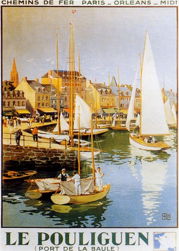 Vintage poster of Le Pouliguen near La Baule in the Loire Atlantique department nw France