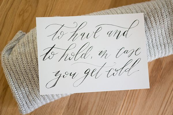 FREE printable signage for winter wedding blankets