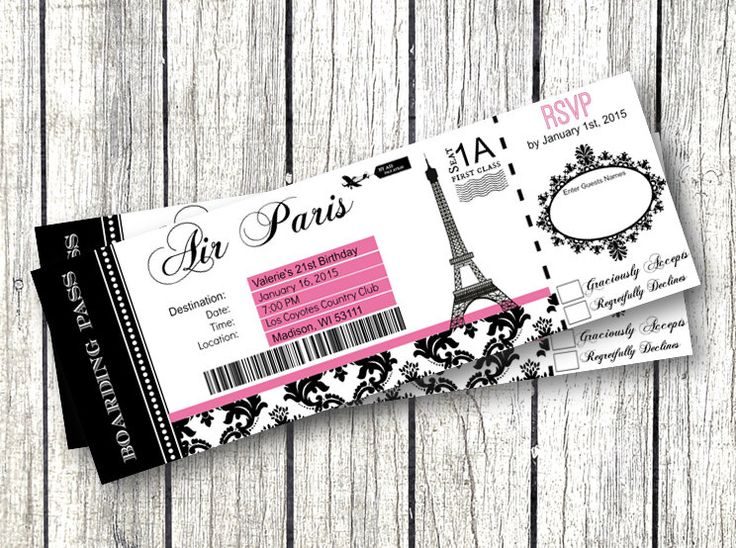 Paris Boarding Pass Invitation DIY EDITABLE Birthday Party RSVP Eiffel Tower Airplane Ticket printable birthday baby shower sweet 16 by PinkPopRoxx on Etsy https://www.etsy.com/listing/224038493/paris-boarding-pass-invitation-diy