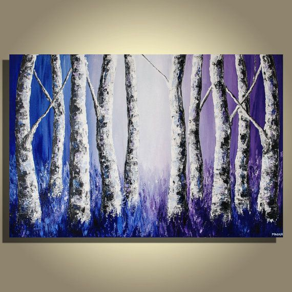 Original Modern Vibrant Purple Blue Birch Trees Landscape Forest Large Acrylic Abstract Painting on Canvas
