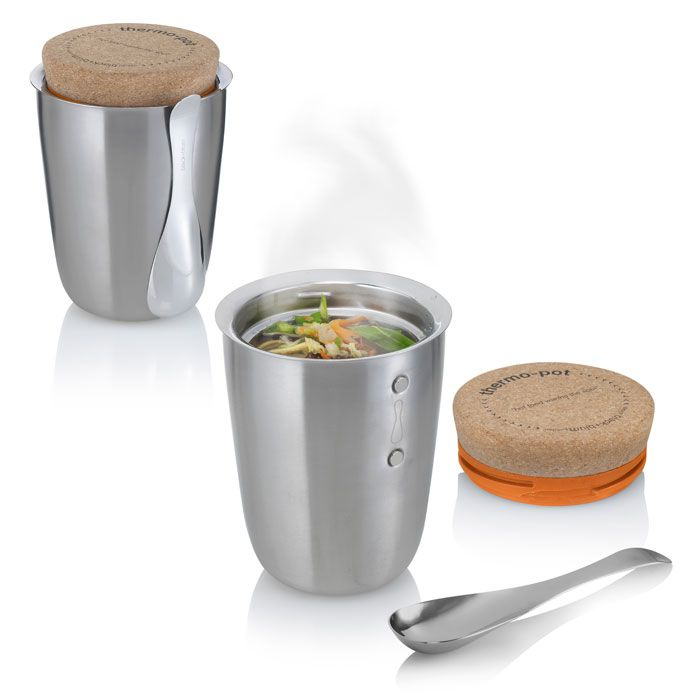 Thermo Pot-- keeps one serving hot for 5 hours; spoon nestles close with magnets:  awesome!