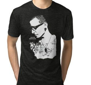Tri-blend T-Shirt • Also buy this artwork on apparel, stickers, phone cases, and more.  #ripchesterbe #ripchesterbennington #rockstar #hipmetal #metal #pop #chesterbennington #music #musician #masterpiece #legend #allstar #linkinpark