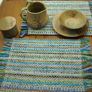 Fabric scraps woven into cotton latch hook canvas = rustic placemats