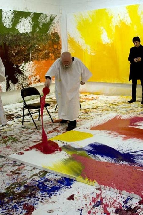 Hermann Nitsch is an Austrian artist who works in experimental and multimedia modes.  In 2011, Nitsch held his first ever live painting action in the United States.
