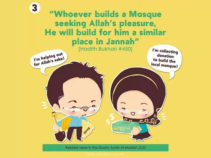 3. Whoever builds a Mosque seeking Allah's pleasure, He will build for him a similar place in Jannah.