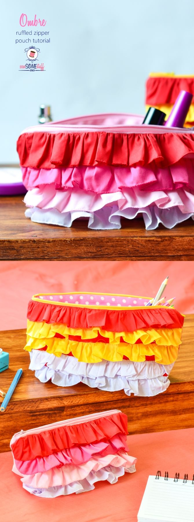 Oh my! These ombre ruffled zipper pouch are PERFECT thing to sew for back to…