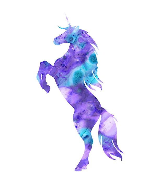 Unicorn print purple unicorn watercolor unicorn by FluidDiamondArt