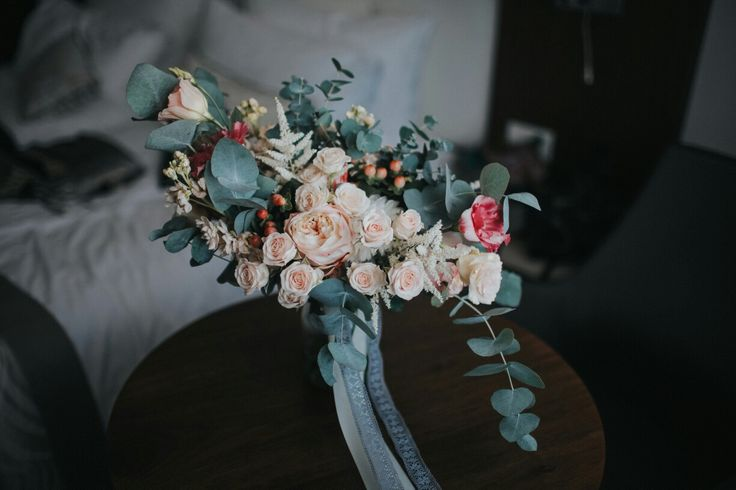 Wedding bouquet. English roses, eucalyptus,miniroses, dahlia, gray, pale flowers, red, pink, green, white